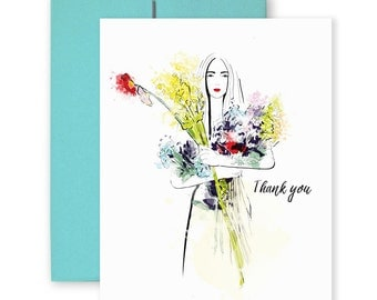 Thank You Wildflowers - Greeting Card, Fashion Illustration