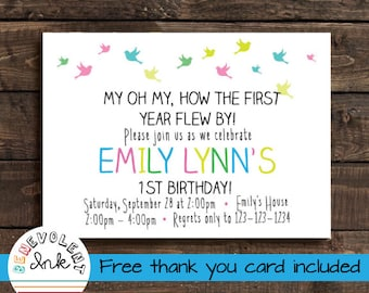 First Birthday Girl Invitation - Printable Bird Theme 1st Birthday Party Invite - Simple Birthday Invitation with FREE Thank You Card