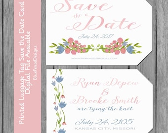 Watercolor Save the Date, Luggage Tag Save the Date Card, Flower Save the Date