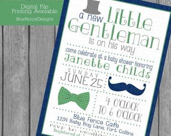 Little Gentleman baby boy shower invitations, top hat, bow tie, mustache, gray, navy, green,  little man, template, printable, digital, card