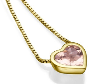 Heart Shape Morganite Pendant Necklace, 14K Yellow Gold Pendant Jewelry, Anniversary Gift, Wedding Jewelry, Bridal Jewelry, Vintage Pendant