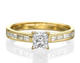 0.7 CT Diamond Engagement Ring, Art Deco Princess Cut Ring, Diamond Baguette Ring, 14K Yellow Gold Diamond Ring