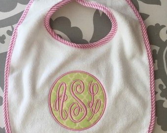 Monogrammed Baby girl bib pink and green terry cloth pin stripes baby shower gift