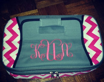 Personalized Chevron Insulated Casserole Carrier - Insulated Cooler - Monogrammed - Hot or Cold