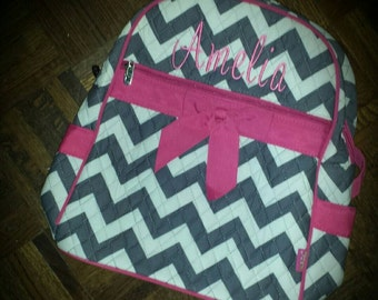 Personalized Quilted Chevron Backpack