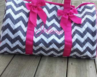 Personalized Chevron Duffle Bag Boy OR Girl With Detachable Bows