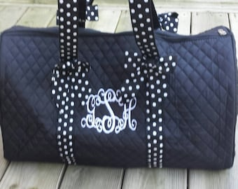 Personalized Embroidered Polka Dot Duffle Bag - Black and White Duffel Bag
