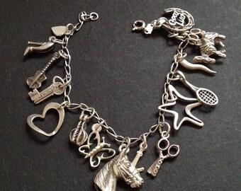 Vintage Retro Sterling Silver Charm Bracelet