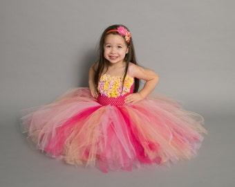 Flower girl dress - tutu dress - tulle dress - Pink ,Yellow, Coral  Tutu Dress - Girls/Youth/Toddler Dress - Pageant dress - Princess dress