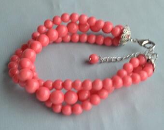 pink coral bracelet, coral bead Bracelet,triple Glass Pearl Bracelet,twist Pearl Bracelets,coral pearl Bracelet,Bridesmaid Bracelet,wedding