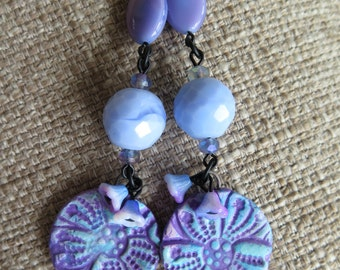 periwinkle earrings, light blue earrings, purple earrings, lavender earrings, lilac earrings, unique earrings, very long earrings, bohemian