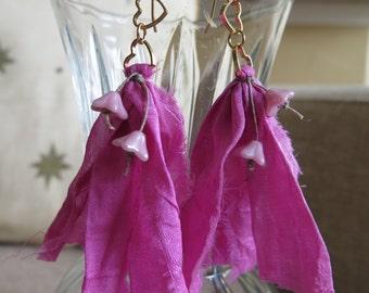 sari silk earrings, pink earrings, boho earrings, unique earrings, flower earrings, pink jewelry, heart earrings, romantic earrings,gift