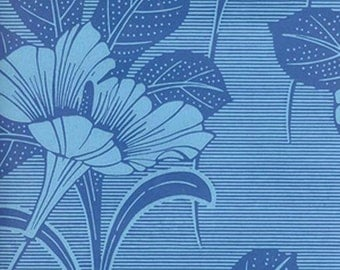 1950s Original Floral Blue European Vintage Wallpaper