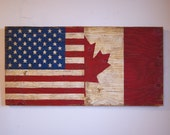 Half USA Half Canada Wood Flag Sign, Distressed, Decorative and in a Variety of Sizes!