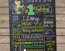 Tinker Bell Fairy Birthday Chalkboard Board Sign Banner Any Age Baby's First 1st 1 2 3 4 Green Yellow Purple Chalk Girls Disney Tinkerbell