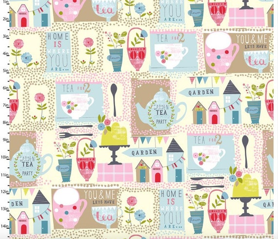 Garden party fabric by tea sympathy studio e tea party for Garden party fabric by blackbird designs