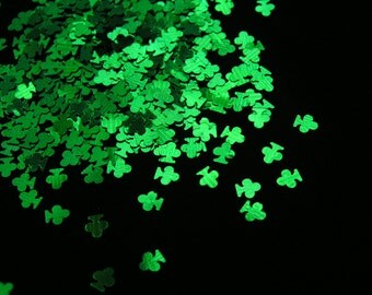 solvent-resistant glitter shapes-emerald green (metallic) clovers
