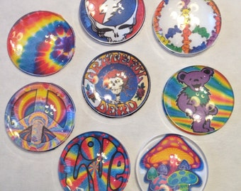 Grateful Dead inspired glass magnets.  Set of six one inch round glass magnets in Grateful Dead and tie dyed designs  pick 6 from photo