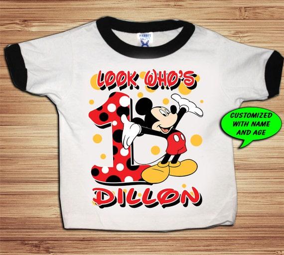 Personalized Mickey Birthday Ringer T Shirt - disney, clubhouse, minnie, goofy