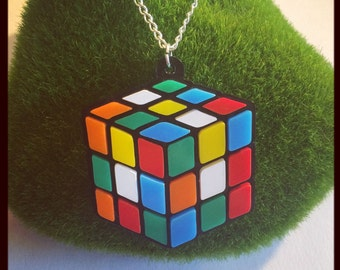 Rubiks Cube Retro Acrylic Necklace