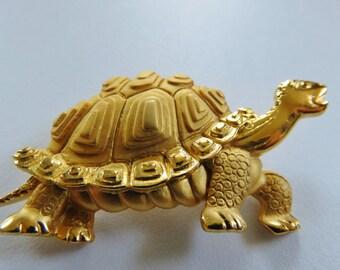 JJ Jonette Gold Tone Pewter Turtle Tortoise Brooch Pin