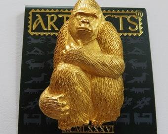JJ Jonette Gold Tone Gorilla Ape Brooch Pin