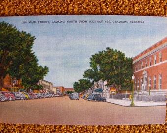 Chadron Ne Nebraska Main Street Vintage Linen Postcard