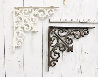 Cast Iron Brackets, Plant Hangers, Shelf Decor, Rustic Barnyard, 8 x 8 Size, French and Garden Decor, Set of 2, French Cottage, Kitchen
