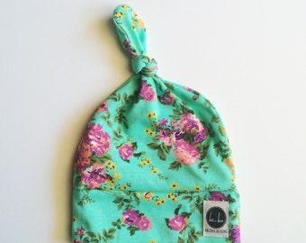 Teal floral newborn topknot beanie