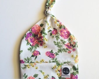 SALE - White small floral baby top knot beanie
