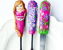 Rapunzel Tangled Flatware Spoon Fork Knife for Girl Cute Gifts for Girls Personalized Name Polymer clay Princess Silverware Set Pink Purple