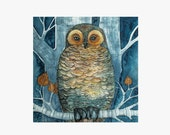 Owl bird portrait blue green forest Watercolor Painting PRINT- nature animals  wall art Fine Art drawing / home decor /  Original by Norvile