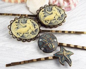 Mermaid Cameo, Starfish and Sand Dollar Bobby Pins - Brass, Blue & Cream