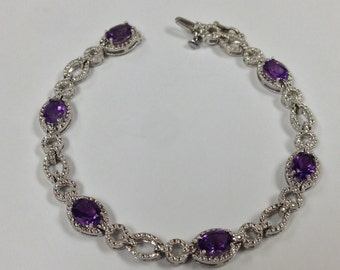 Natural Amethyst Diamond Bracelet Sterling Silver