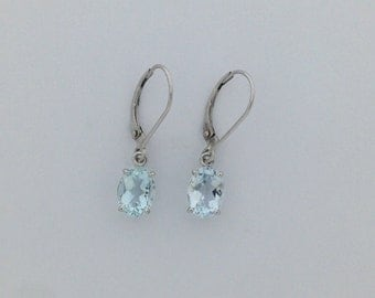 Natural Aquamarine Dangle Earrings Solid 14kt White Gold