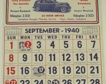 Original Vintage ABC Ambulance Calendar