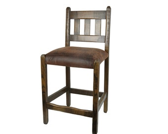 Barnwood Bar Stools with upholstered seat
