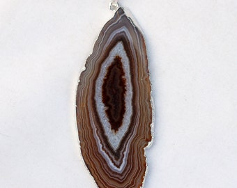 Silver Rimmed brown Banded Agate Geode Gemstone Pendant - 27mm x 75mm