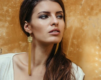 Gold Chain Earrings, Gold Tassel Earrings, Boho Dangle Earrings, Gold Long Earrings, Elegant Earrings By Sagia