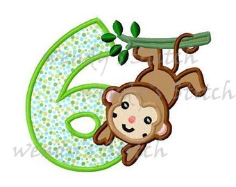 monkey number 6 applique machine embroidery design