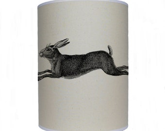 Leaping hare shade/ lamp shade/ ceiling shade/ drum lampshade/ lighting