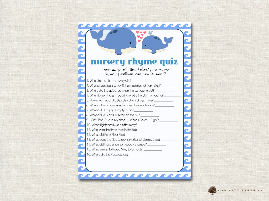 Whale Nursery Rhyme Quiz Baby Shower Game Whale Nursery