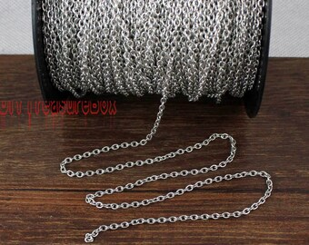 16Ft Antique Silver cable chain 3.5x2.5mm