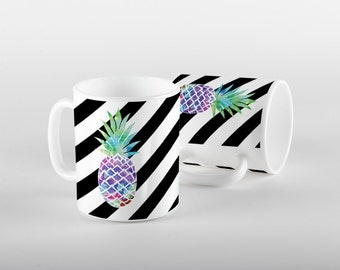 Pineapple Mug with Bold Stripes