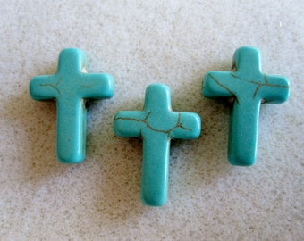 3 - Synthetic Howlite Turquoise Cross Beads