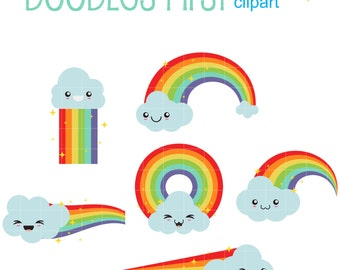 Kawaii Rainbows And Clouds Digital Clip Art for Scrapbooking Card Making Cupcake Toppers Paper Crafts