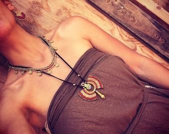Macrame Tribal necklace red version with brass beads TRIBAL jewelry bohemian gipsy jewelry macrame necklace artofgoddess
