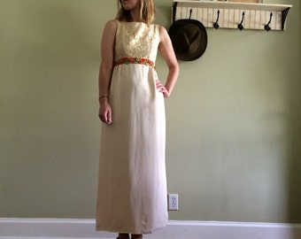 60s Boho Empire Gown