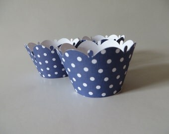 Blue Polka Dot cupcake wrapper - available in any color you desire