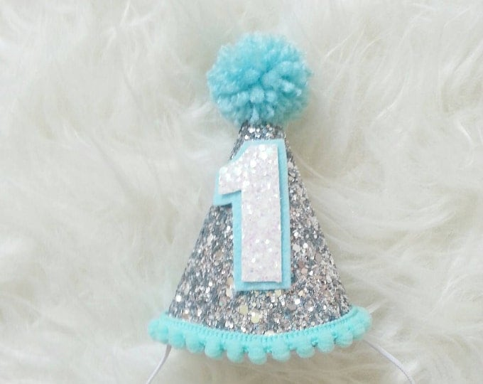 Glittery Mini Party Hat Headband | Party Hat | Birthday Hat | First Birthday | Glitter Party Hat | Aqua and Silver | Ready to Ship